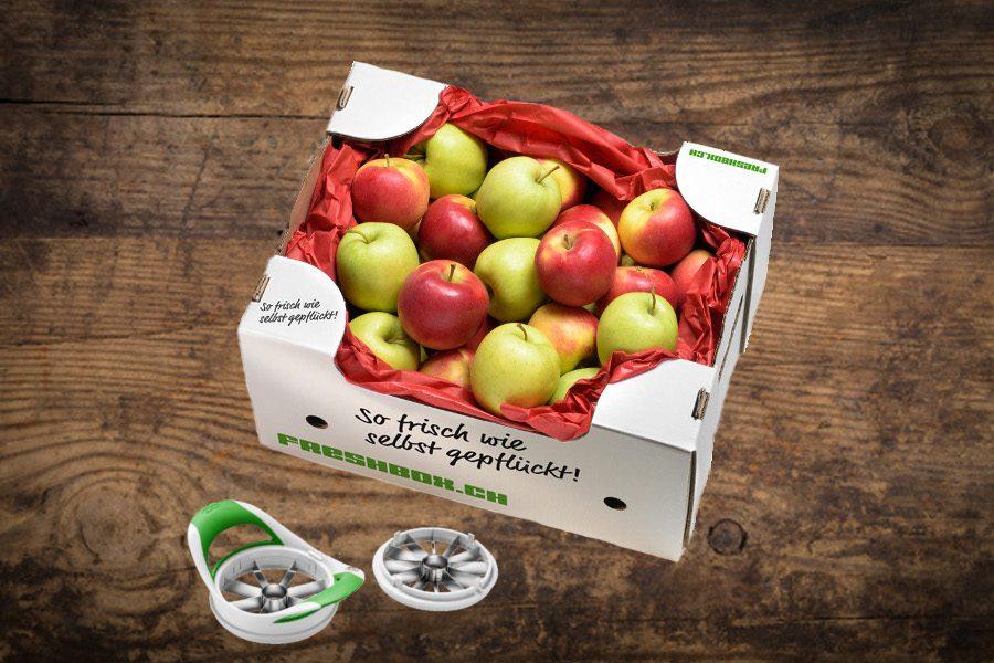 Apfelbox mit Apfelschneider   Magazin Freshbox